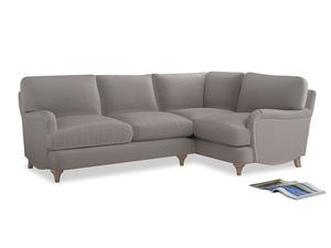 Large Right Hand Jonesy Corner Sofa in Mouse grey Clever Deep Velvet
