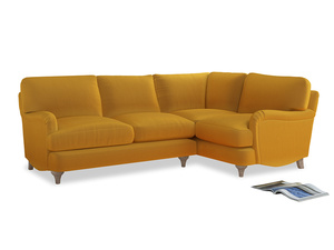 Large Right Hand Jonesy Corner Sofa in Pollen Clever Deep Velvet