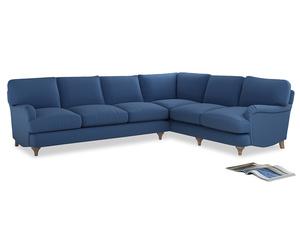 Xl Right Hand Jonesy Corner Sofa in English blue Brushed Cotton