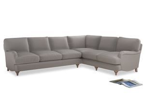 Xl Right Hand Jonesy Corner Sofa in Mouse grey Clever Deep Velvet