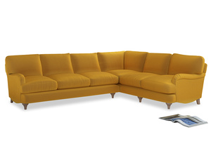 Xl Right Hand Jonesy Corner Sofa in Pollen Clever Deep Velvet