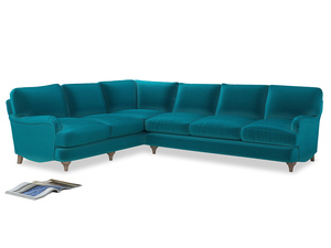 Xl Left Hand Jonesy Corner Sofa in Pacific Clever Velvet