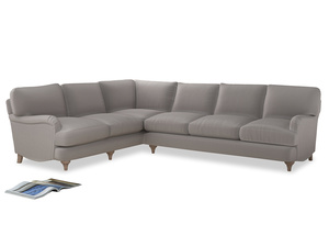 Xl Left Hand Jonesy Corner Sofa in Mouse grey Clever Deep Velvet