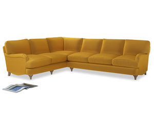 Xl Left Hand Jonesy Corner Sofa in Pollen Clever Deep Velvet