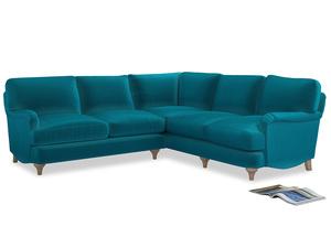 Even Sided Jonesy Corner Sofa in Pacific Clever Velvet