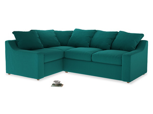 Large Left Hand Cloud Corner Sofa in Indian green Brushed Cotton