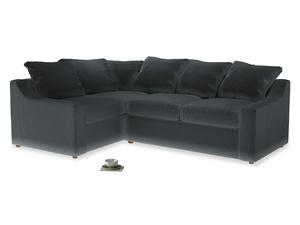 Large Left Hand Cloud Corner Sofa in Dark grey Clever Deep Velvet