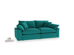 Medium Cuddlemuffin Modular sofa in Indian green Brushed Cotton