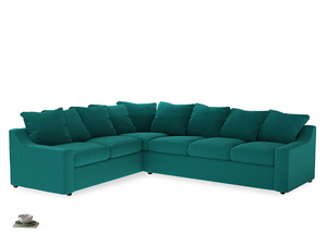 Xl Left Hand Cloud Corner Sofa in Indian green Brushed Cotton