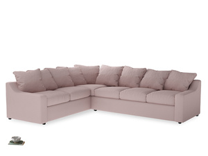 Xl Left Hand Cloud Corner Sofa in Potter's pink Clever Linen