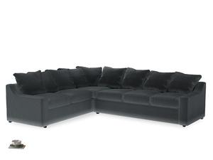 Xl Left Hand Cloud Corner Sofa in Dark grey Clever Deep Velvet