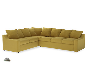Xl Left Hand Cloud Corner Sofa in Maize yellow Brushed Cotton