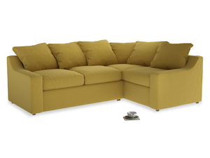 Large Right Hand Cloud Corner Sofa in Maize yellow Brushed Cotton