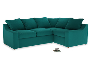 Large Right Hand Cloud Corner Sofa in Indian green Brushed Cotton