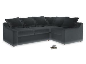 Large Right Hand Cloud Corner Sofa in Dark grey Clever Deep Velvet