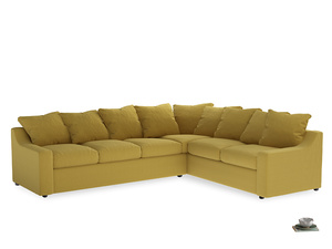 Xl Right Hand Cloud Corner Sofa in Maize yellow Brushed Cotton
