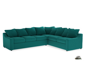 Xl Right Hand Cloud Corner Sofa in Indian green Brushed Cotton