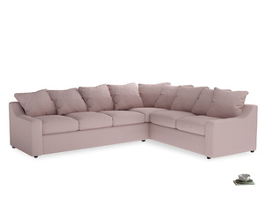 Xl Right Hand Cloud Corner Sofa in Potter's pink Clever Linen