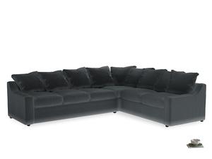 Xl Right Hand Cloud Corner Sofa in Dark grey Clever Deep Velvet