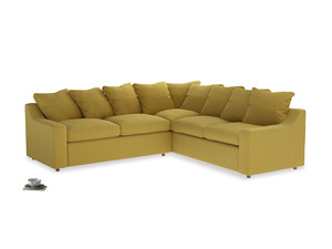 Even Sided Cloud Corner Sofa in Maize yellow Brushed Cotton
