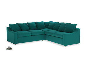 Even Sided Cloud Corner Sofa in Indian green Brushed Cotton