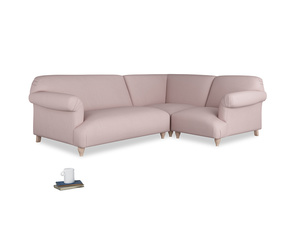 Large right hand Soufflé Modular Corner Sofa in Potter's pink Clever Linen with both arms