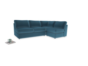 Large right hand Chatnap modular corner storage sofa in Old blue Clever Deep Velvet