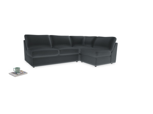 Large right hand Chatnap modular corner storage sofa in Dark grey Clever Deep Velvet