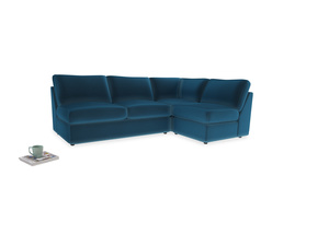 Large right hand Chatnap modular corner storage sofa in Twilight blue Clever Deep Velvet
