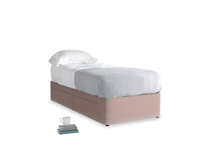 Single Tight Space Storage Bed in Rose quartz Clever Deep Velvet