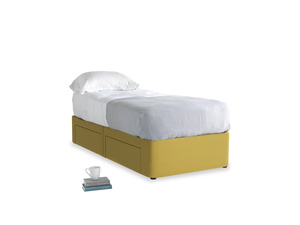 Single Tight Space Storage Bed in Maize yellow Brushed Cotton