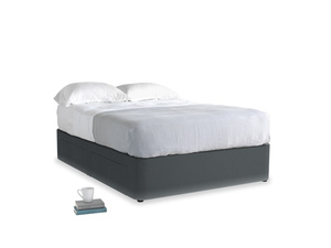 Double Tight Space Storage Bed in Dark grey Clever Deep Velvet
