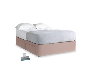 Double Tight Space Storage Bed in Rose quartz Clever Deep Velvet