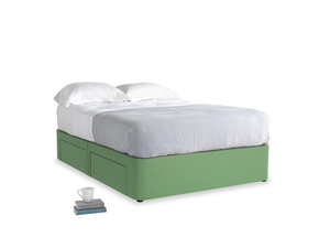 Double Tight Space Storage Bed in Clean green Brushed Cotton