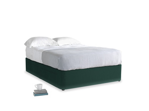 Double Tight Space Storage Bed in Dark green Clever Velvet