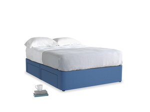 Double Tight Space Storage Bed in English blue Brushed Cotton