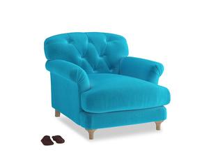 Truffle Armchair in Azure plush velvet