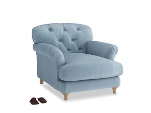 Truffle Armchair in Chalky blue vintage velvet