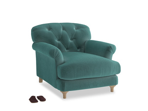 Truffle Armchair in Real Teal clever velvet