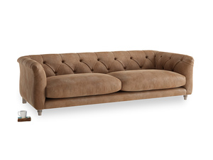 Large Boho Sofa in Walnut beaten leather