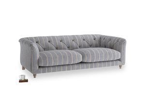 Medium Boho Sofa in Brittany Blue french stripe