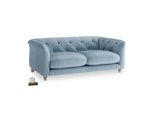 Small Boho Sofa in Chalky blue vintage velvet