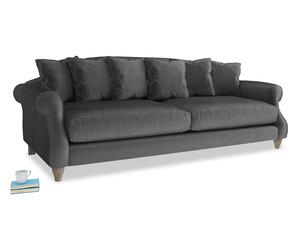 Extra large Sloucher Sofa in Scuttle grey vintage velvet