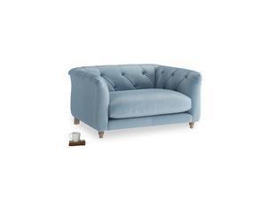 Boho Love Seat in Chalky blue vintage velvet