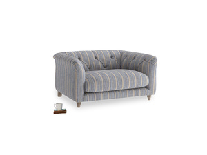 Boho Love Seat in Brittany Blue french stripe