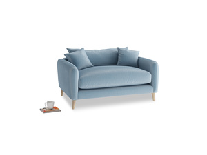 Squishmeister Love Seat in Chalky blue vintage velvet