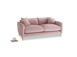 Small Squishmeister Sofa in Chalky Pink vintage velvet