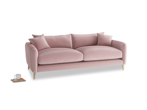 Medium Squishmeister Sofa in Chalky Pink vintage velvet