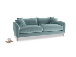 Medium Squishmeister Sofa in Lagoon clever velvet