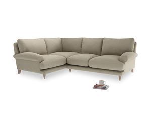 Large Left Hand Slowcoach Corner Sofa in Jute vintage linen